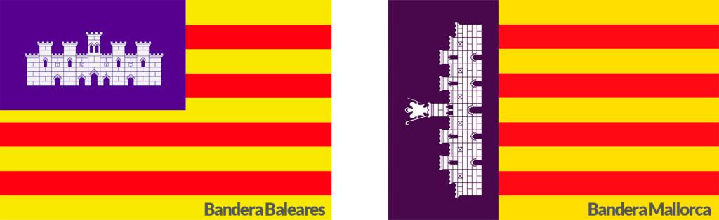 Bandera de Mallorca Demastils Banderas , mástiles y soportes publicitarios. La Bandera de Mallorca. Comparación